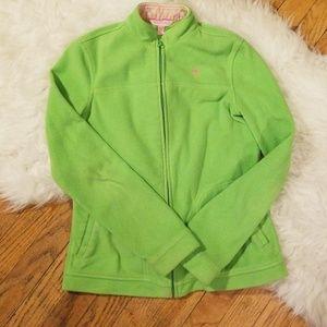 Lily Pulitzer Lime Green Zip up Fleece Jacket XS